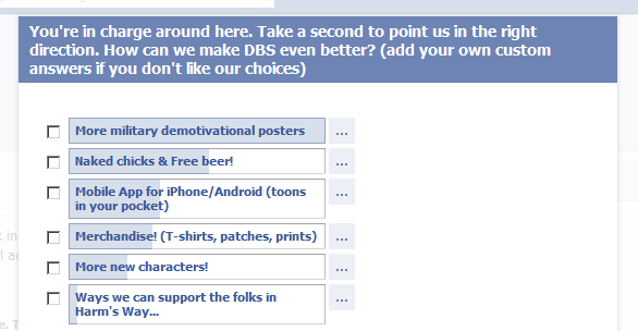 A Facebook poll screenshot showing reader feedback